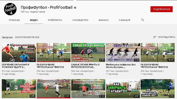 Футбольные каналы на ютубе